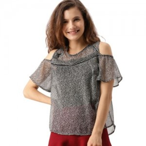 Dressberry Casual Cold Shoulder Printed Women's Black Top