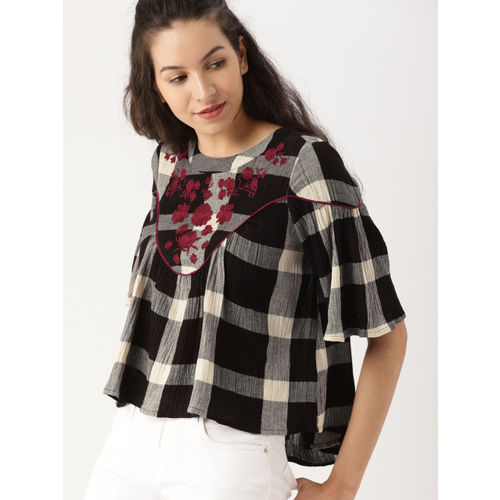 DressBerry Women Black & Off-white Checked Top