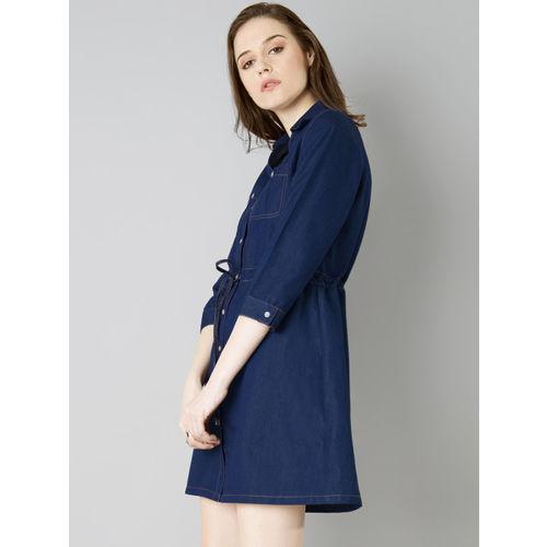 FabAlley Women Blue Solid Shirt Dress