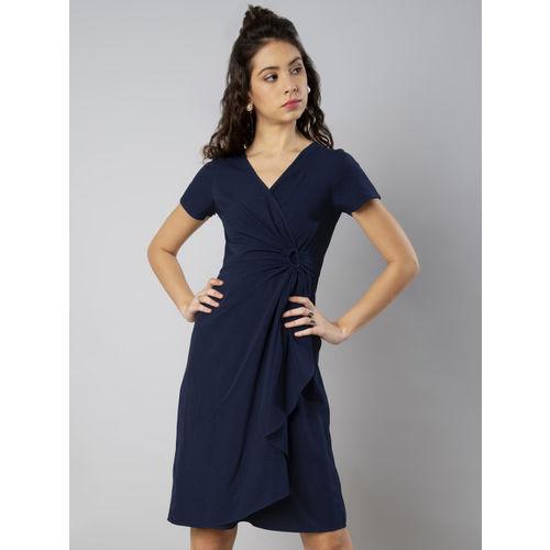 ce115c2303d44d Buy FabAlley Women Blue Solid Wrap Dress online | Looksgud.in