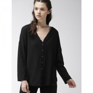 FOREVER 21 Women Black Self Design Cardigan