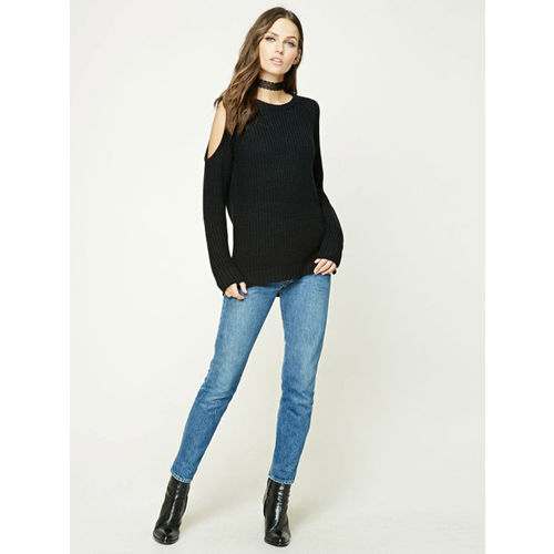 FOREVER 21 Women Black Solid Cold-Shoulder Sweater