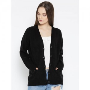 FOREVER 21 Women Black Solid Cardigan