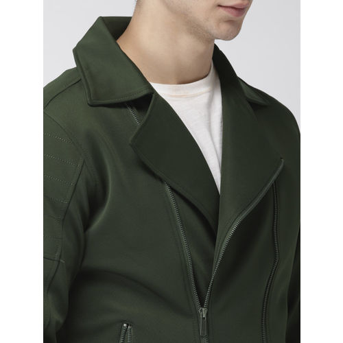 Mast & Harbour Men Olive Green Solid Tailored Jacket