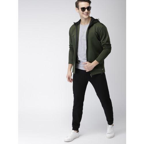 Mast & Harbour Men Olive Green Solid Tailored Jacket