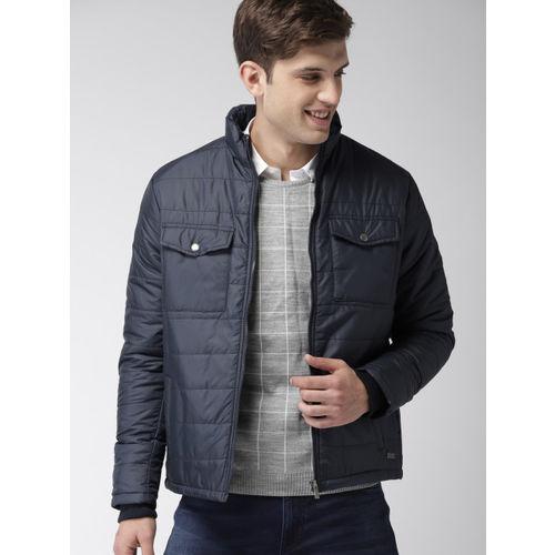 Mast & Harbour Men Navy Blue Solid Puffer Jacket