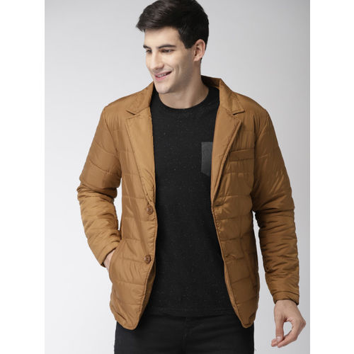 Mast & Harbour Men Brown Solid Puffer Jacket