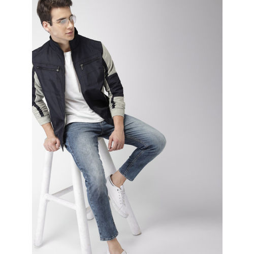 Mast & Harbour Men Navy Blue & Grey Colourblocked Bomber Jacket