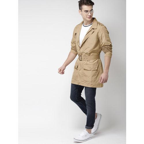 Mast & Harbour Men Beige Solid Tailored Jacket