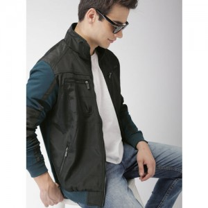 Mast & Harbour Men Black Solid Bomber