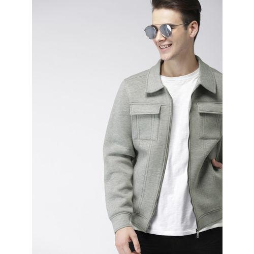 Mast & Harbour Men Grey Melange Solid Tailored Jacket