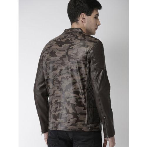 Mast & Harbour Men Brown Printed Biker Jacket