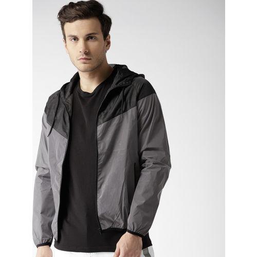 Mast & Harbour Men Grey & Black Colourblocked Reflective Hooded Bomber Jacket