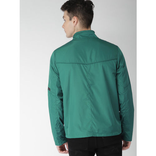 Mast & Harbour Men Teal Green Solid Tailored Jacket