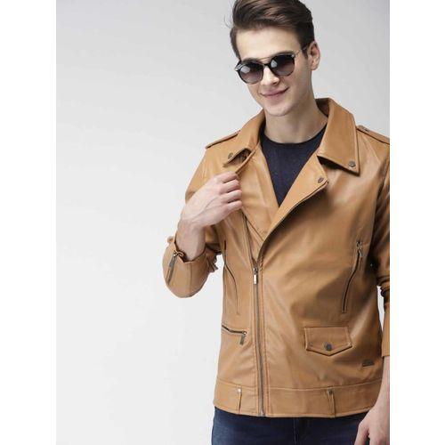 Mast & Harbour Men Brown Solid Biker Jacket