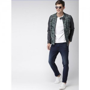 Mast & Harbour Men Green Printed Biker Jacket
