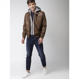 Mast & Harbour Men Brown Solid Biker Hooded Jacket