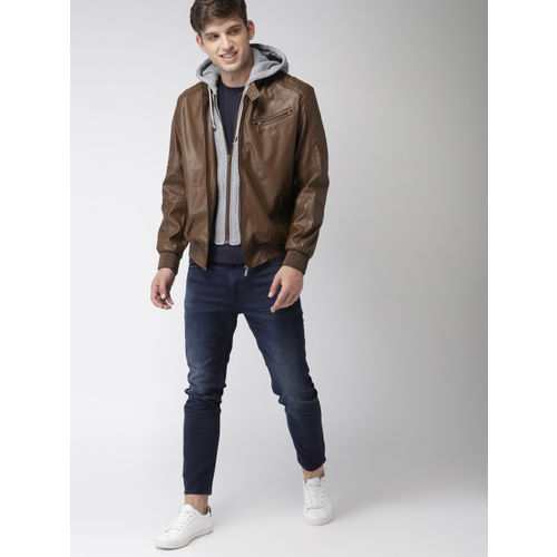 Mast & Harbour Men Brown Solid Biker Hooded Jacket