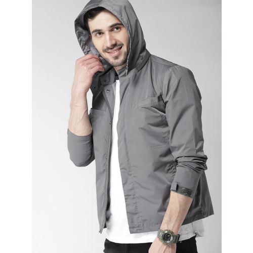 Mast & Harbour Men Grey Solid Tailored Jacket with Detachable Hood