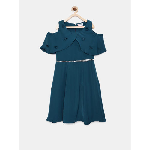 Peppermint Girls Teal Solid Fit and Flare Dress