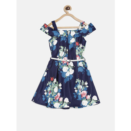 Peppermint Girls Blue Printed Fit and Flare Dress