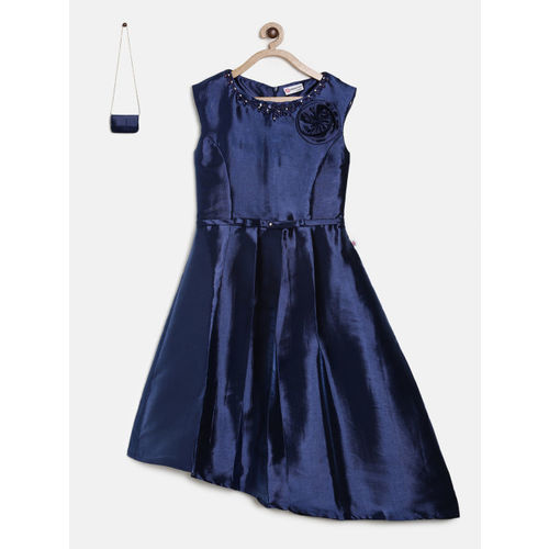 2748db5f59a ... Peppermint Girls Navy Blue Solid Fit and Flare Dress with Sling bag ...