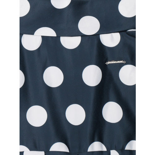 Peppermint Girls Navy Blue & Red Polka Dot Printed Fit & Flare Dress