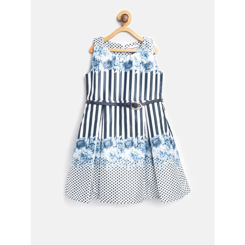 Peppermint Girls Blue & White Printed Fit & Flare Dress