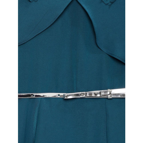 Peppermint Girls Teal Blue Solid Fit and Flare Dress