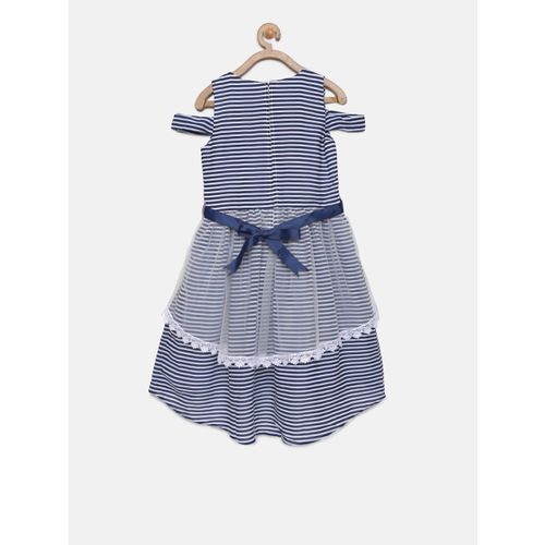 Peppermint Girls Navy Blue Striped Layered Fit and Flare Dress