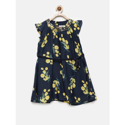 Peppermint Navy Blue Floral Fit and Flare Dress
