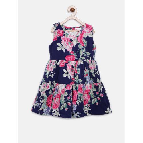 Peppermint Girls Navy Blue Printed A-Line Dress