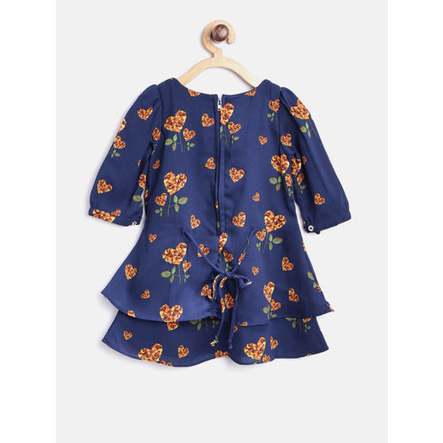 Peppermint Girls Navy Floral Print Layered A-Line Dress