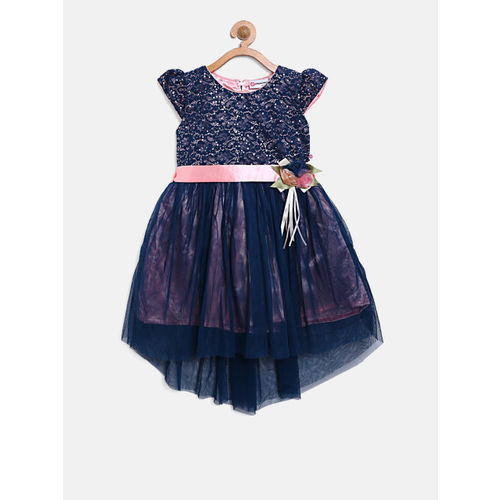 Peppermint Girls Navy Blue Self Design Layered Fit and Flare Dress