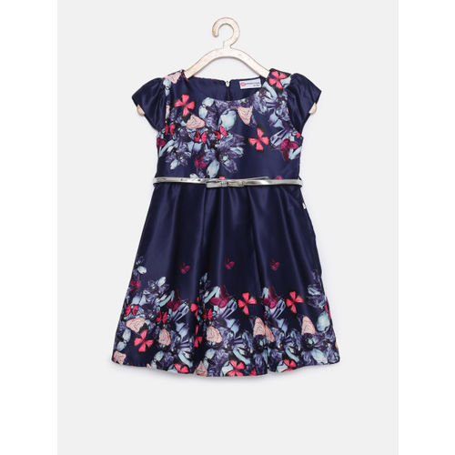 Peppermint Girls Navy Blue Printed Fit & Flare Dress