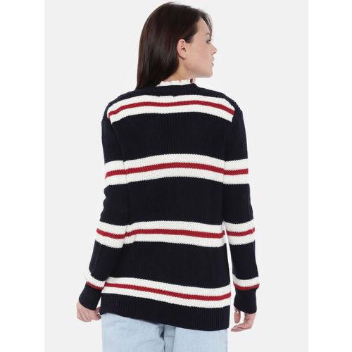 FOREVER 21 Women Navy & White Striped Longline Cardigan