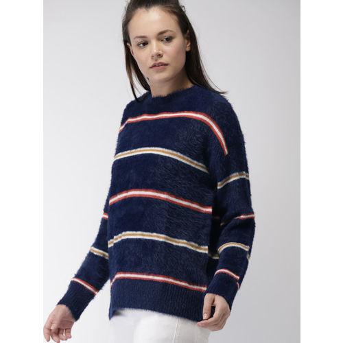 FOREVER 21 Women Navy Blue & White Striped Pullover