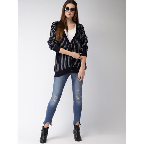 FOREVER 21 Women Navy Blue & White Striped Cardigan Sweater