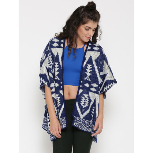 FOREVER 21 Women Blue & White Patterned Front Open Cardigan