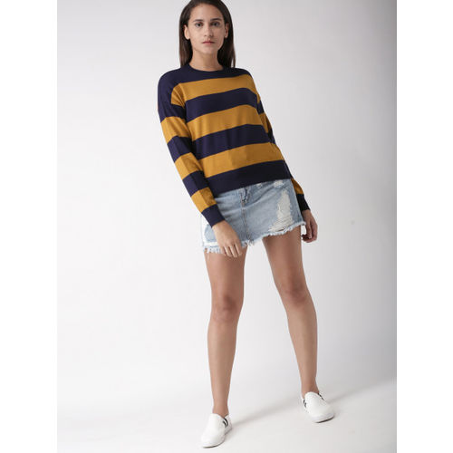 FOREVER 21 Women Navy Blue & Mustard Yellow Striped Pullover