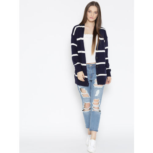 FOREVER 21 Women Navy & White Striped Cardigan