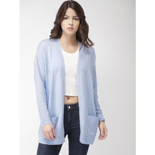 FOREVER 21 Women Blue-Coloured Solid Front-Open Sweater