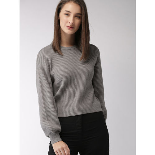 FOREVER 21 Women Grey Solid Pullover Sweater