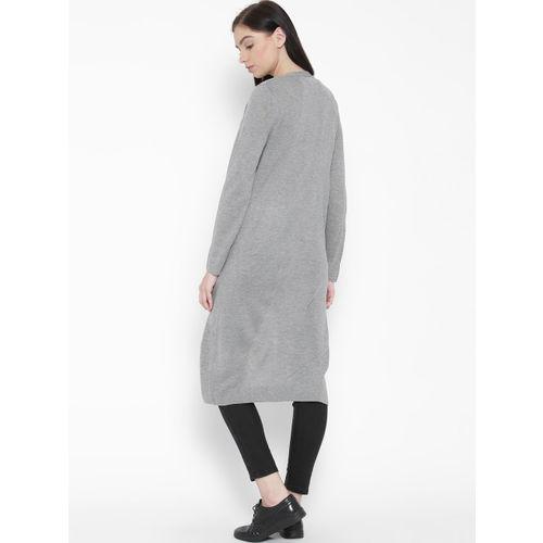 FOREVER 21 Women Grey Melange Solid Front Open Longline Cardigan
