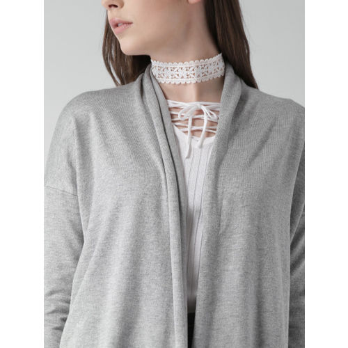 FOREVER 21 Women Grey Melange Solid Open Front Cardigan