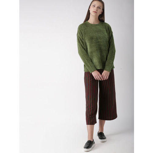 FOREVER 21 Women Olive Green Solid Pullover