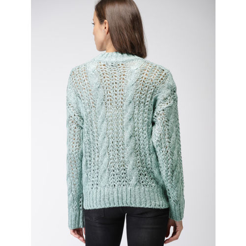 FOREVER 21 Women Green Self Design Pullover