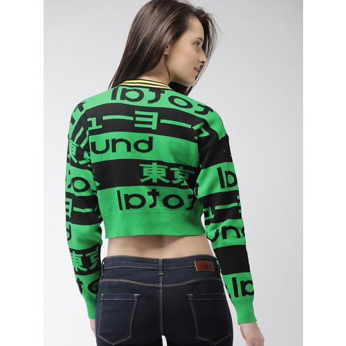 FOREVER 21 Women Green & Black Printed Pullover
