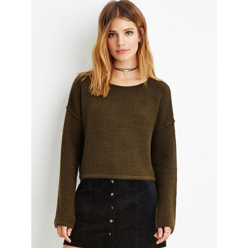 18bb23d2e2 Buy FOREVER 21 Women Olive Green Solid Crop Sweater online ...