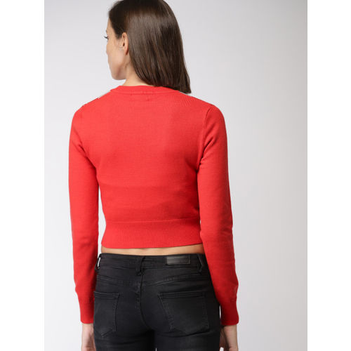 FOREVER 21 Women Red & Grey Self-Design Crop Pullover Sweater